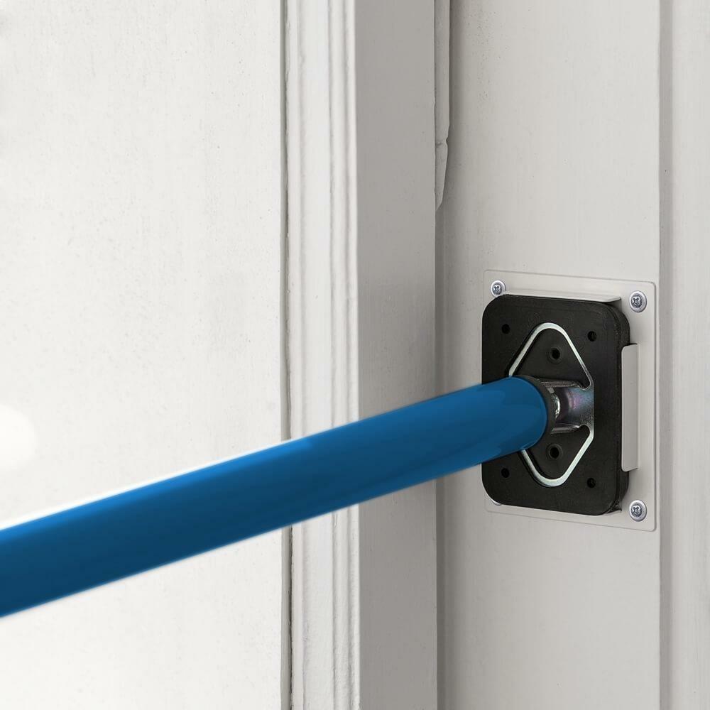 ALLEGRA Sicherungsstange Fenstersicherung Türsicherung 199-375cm blau & Ankerplatte weiß