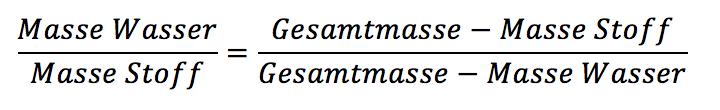 Materialfeuchte - Wassergehalt Formel